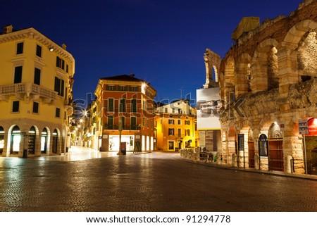 Piazza Bra and Ancient Roman Amphitheater in Verona, Italy - stock photo