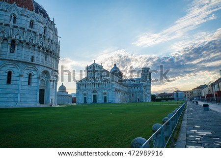 Piazza dei miracoli, leaning tower, dome and baptistery, Pisa Italy