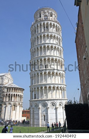 Piazza dei Miracoli, the Duomo and the leaning tower, world heritage in Pisa, Tuscany, Italy
