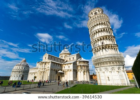 Piazza dei miracoli, with the Basilica and the leaning tower. Pisa, Italy. - stock photo