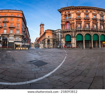 Piazza del Duomo and Via dei Mercanti in the Morning, Milan, Italy - stock photo