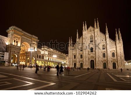 Piazza del Duomo at night, Milan, Italy - stock photo