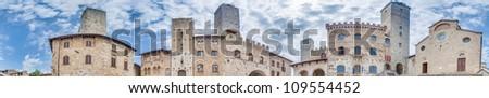 Piazza del Duomo (Church Square) located at San Gimignano in Tuscany, Italy - stock photo