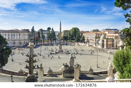 Piazza del Popolo (People's Square) named after the church of Santa Maria del Popolo in Rome, Italy  - stock photo