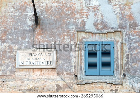 Piazza di Santa Maria sign on old house in Trastevere, Rome - stock photo