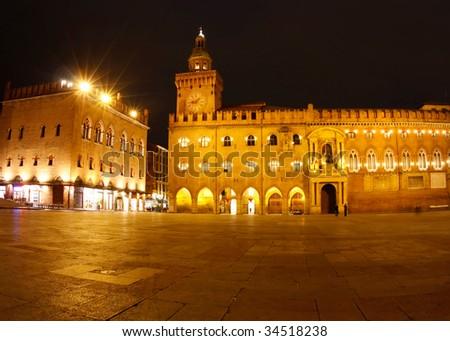 Piazza Maggiore; from left to right:  Palazzo dei Notai, Palazzo d'Accursio (or Palazzo Comunale). - stock photo