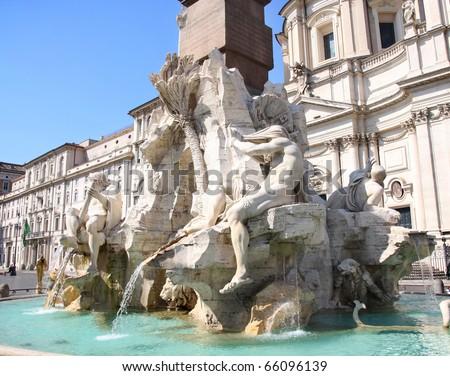 Piazza Navona, fontana dei Fiumi del Bernini in Rome, Italy - stock photo