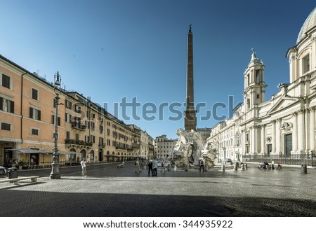 Piazza Navona in morning time, Rome. Italy - stock photo