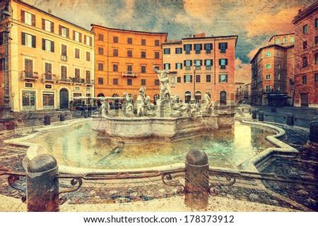 Piazza Navona, Rome. Italy. Picture in artistic retro style.  - stock photo