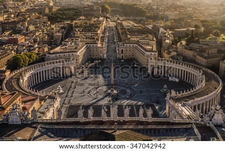 Piazza San Pietro (St.Peter's Square), Vatican City, Rome, Italy - stock photo