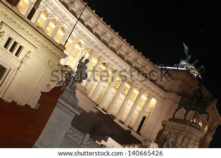 Piazza Venezia in Rome at the night - stock photo