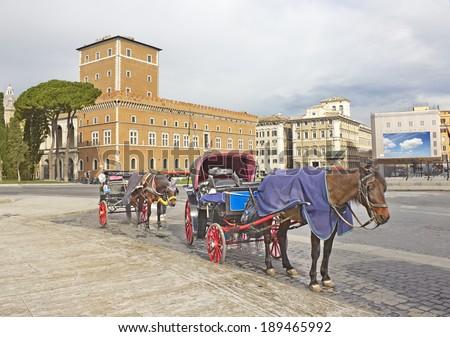 Piazza Venezia in Rome, Italy - stock photo