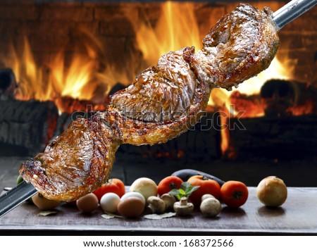 Picanha, traditional Brazilian barbecue.  - stock photo