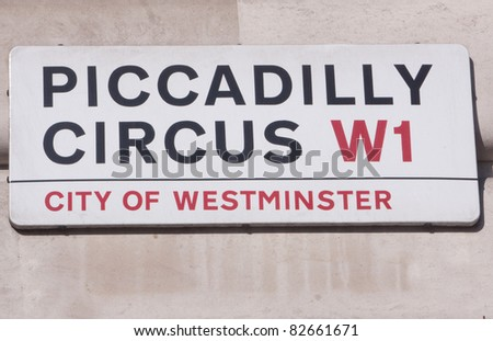Piccadilly circus street sign, Westminster , London - stock photo