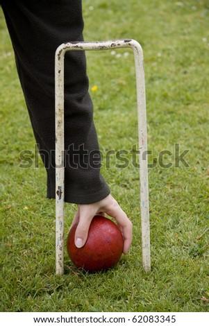 Picking up a croquet ball through hoop - stock photo