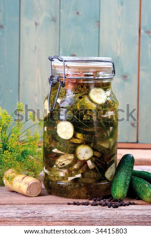 Pickled cucumber - stock photo