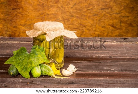 pickled cucumbers, homemade preserved vegetables - stock photo