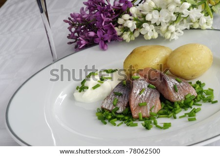 Pickled herring with new potatoes plus sour cream and chopped chives - stock photo