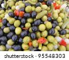 Pickled olives mix - stock photo