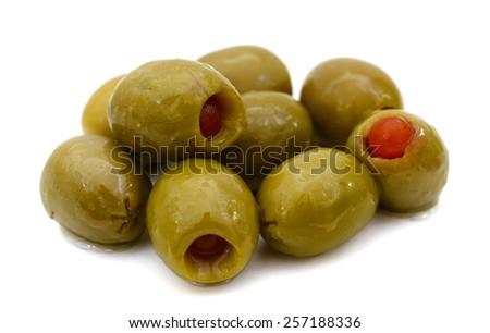 pickled olives on white background  - stock photo