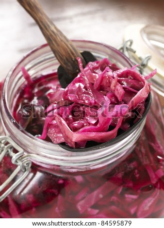 Pickled red cabbage - stock photo