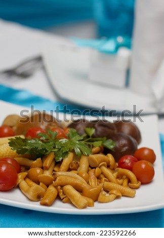 Pickled vegetables and mushrooms on a festive table - stock photo