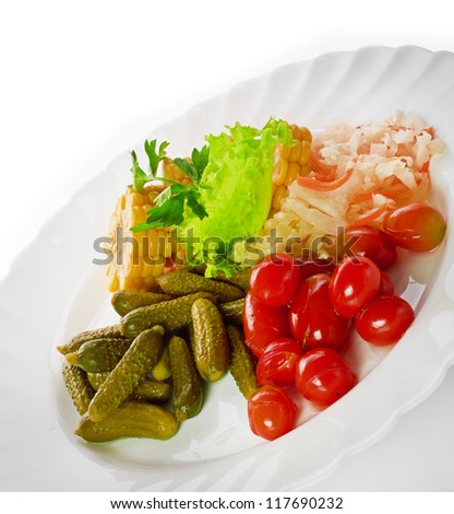 pickled vegetables of tomato, cucumber, cabbage isolated - stock photo