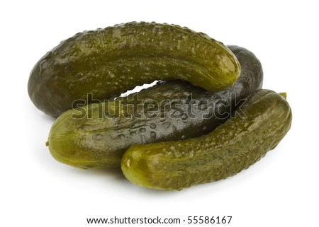 Pickles cucumber isolated on white background - stock photo