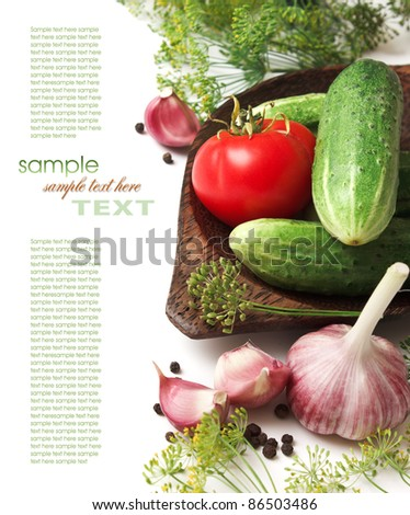 pickling cucumbers and spices isolated on white background - stock photo