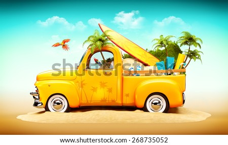 Pickup truck with sand, surf and palms in the trunk. Unusual travel illustration - stock photo
