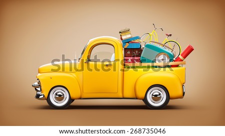 Pickup truck with suitcases, radio and bicycle in the trunk. Unusual travel illustration - stock photo