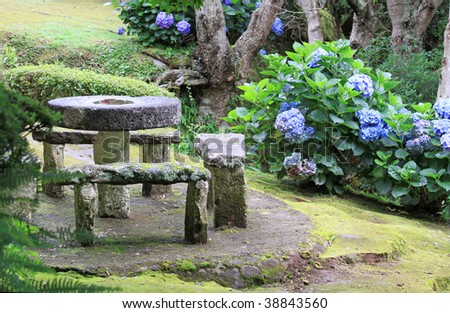 Picnic area at Miradouro da Madrugada (Sao Miguel, Azores) - stock photo