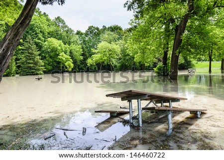Picnic area of Sunnybrook park in Toronto flooded after heavy rains - stock photo