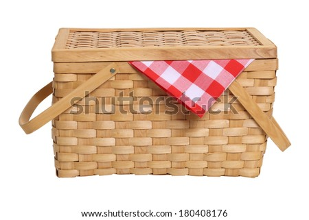 Picnic basket cut out on white background - stock photo