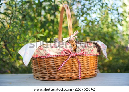 Picnic basket, isolated on white - stock photo