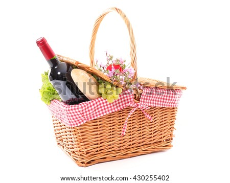 picnic basket isolated on white