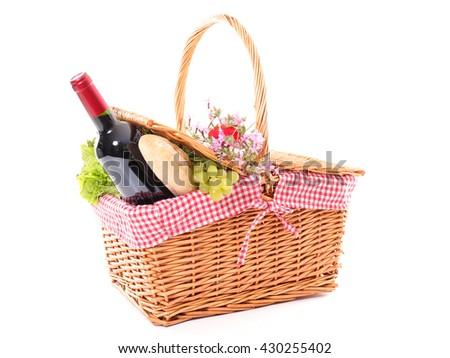 picnic basket isolated on white - stock photo