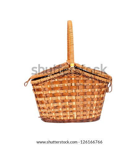 Picnic basket isolated on white background - stock photo