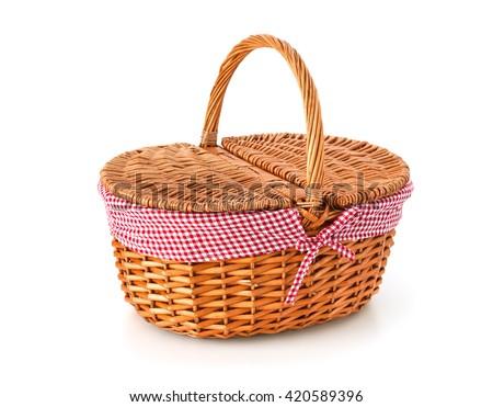 Picnic basket, isolated on white background - stock photo