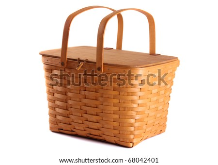 Picnic Basket on a white background - stock photo