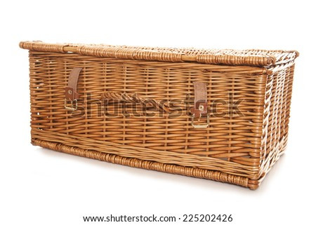 picnic basket studio cut out - stock photo
