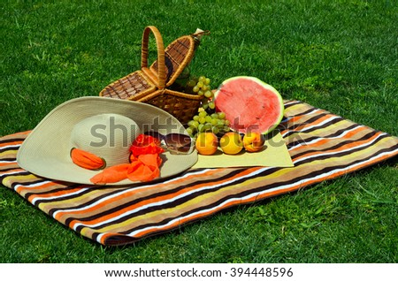 Picnic basket with food on green sunny lawn.