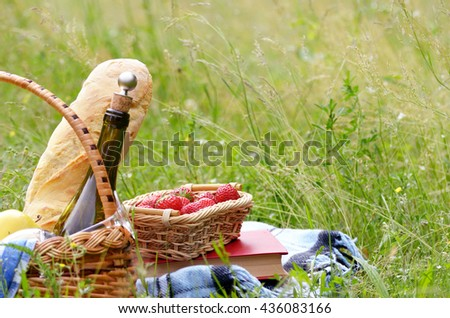 Picnic basket with fruits wine and bread on the grass with book and strawberry aside