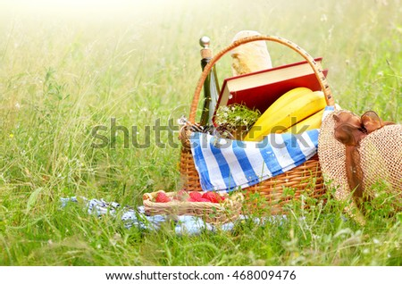 Picnic basket with fruits wine and bread on the grass with book strawberry and hat