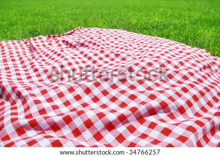 Picnic Cloth on Meadow - stock photo