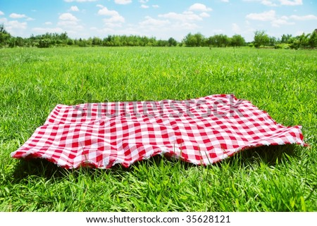 picnic cloth on meadow with copy space - stock photo