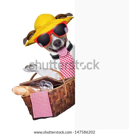 picnic dog behind placard with basket and bread - stock photo