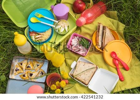 picnic food at outdoor - stock photo