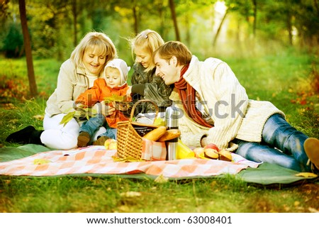 Picnic. Happy Family Outdoor - stock photo