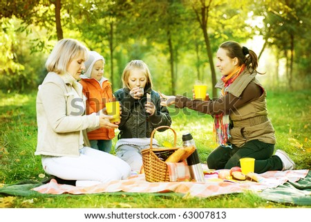 Picnic. Happy Family outdoor. Autumn - stock photo